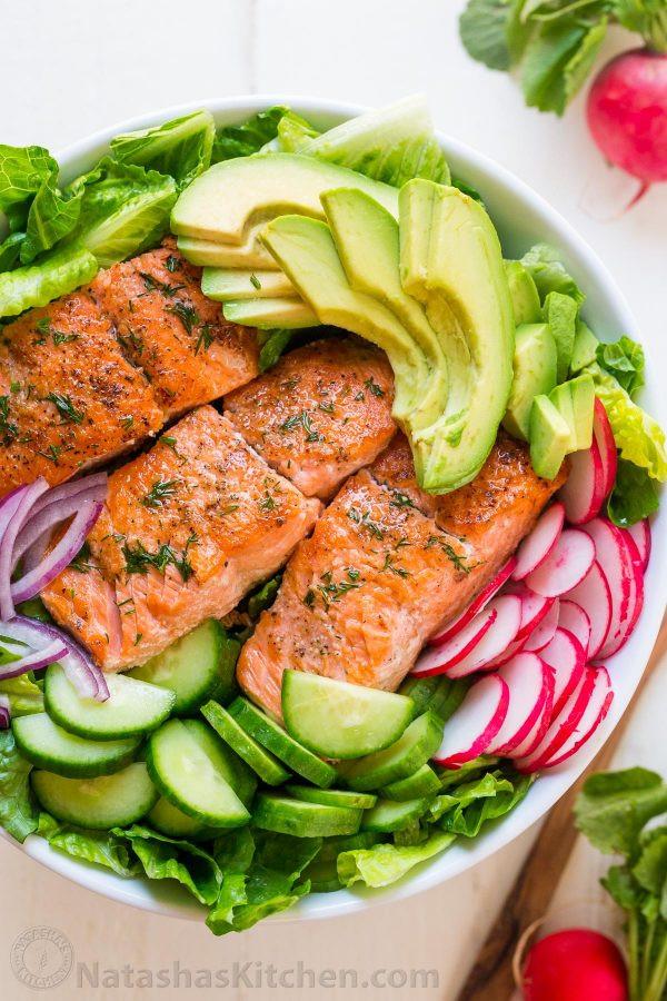 Salmon Salad Recipe  Avocado Salmon Salad Recipe VIDEO NatashasKitchen