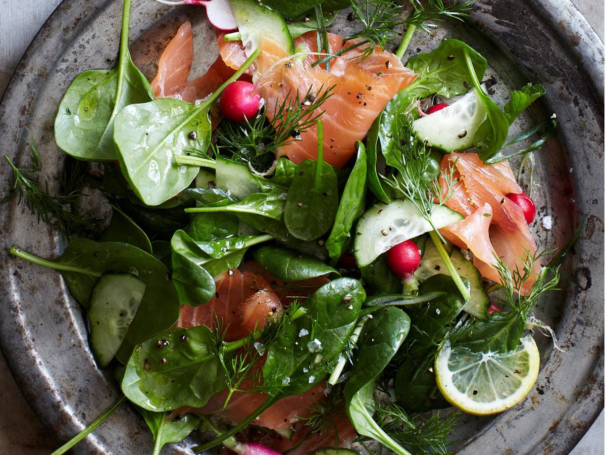 Salmon Salad Recipe  Spinach and Smoked Salmon Salad with Lemon Dill Dressing