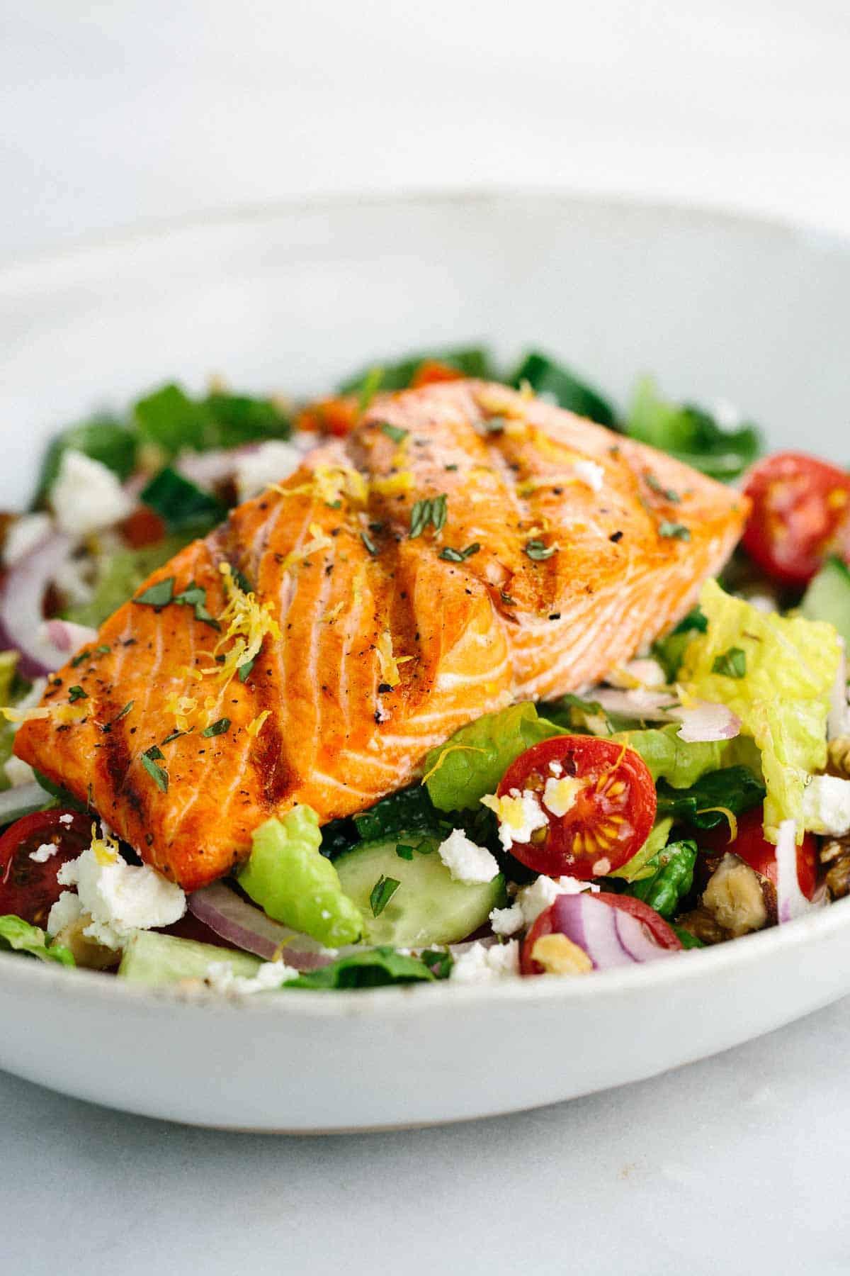 Salmon Salad Recipe  Grilled Salmon Greek Salad with Lemon Basil Dressing
