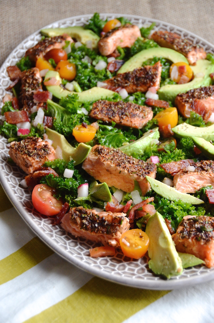Salmon Salad Recipe  Spicy Herbed Salmon Salad with Kale Bacon and Avocado