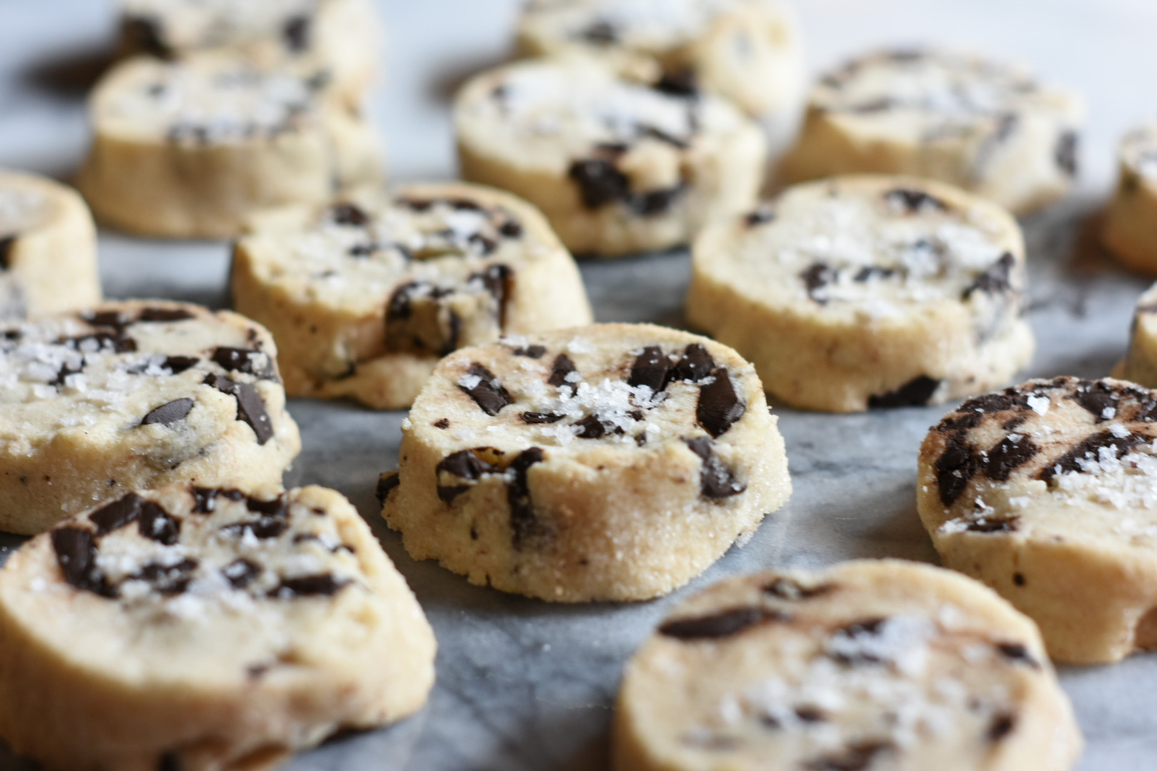 Salted Butter Chocolate Chunk Shortbread Cookies  Salted Butter Chocolate Chunk Shortbread Cookies • baste