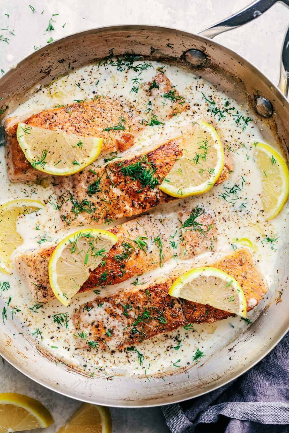 Sauces For Salmon  Pan Seared Salmon with a Creamy Lemon Dill Sauce
