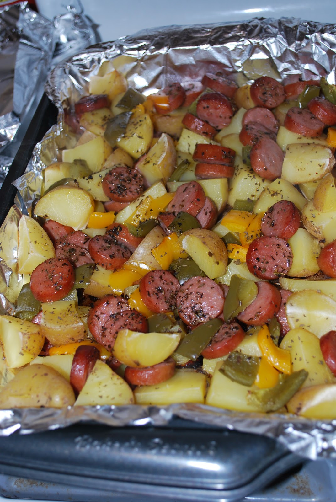 Sausage And Potato Casserole  Chicago Foo Sisters Smoked sausage and potato bake