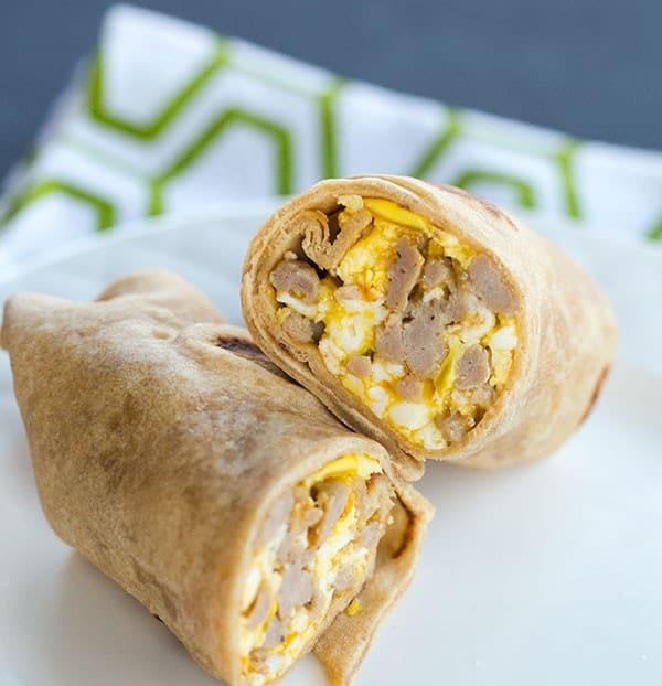 Sausage Breakfast Burrito Recipe  Egg Sausage and Cheddar Breakfast Burritos