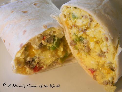 Sausage Breakfast Burrito Recipe  Breakfast Burrito Recipe with Sausage A Mama s Corner of