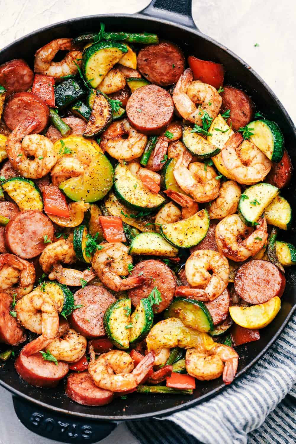 Sausage Dinner Ideas  Cajun Shrimp and Sausage Ve able Skillet