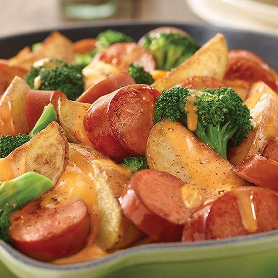 Sausage Dinner Ideas  Potato Broccoli & Smoked Sausage Skillet