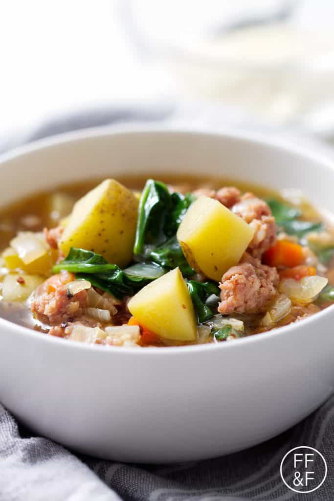 Sausage Potato Soup  spinach potato sausage soup