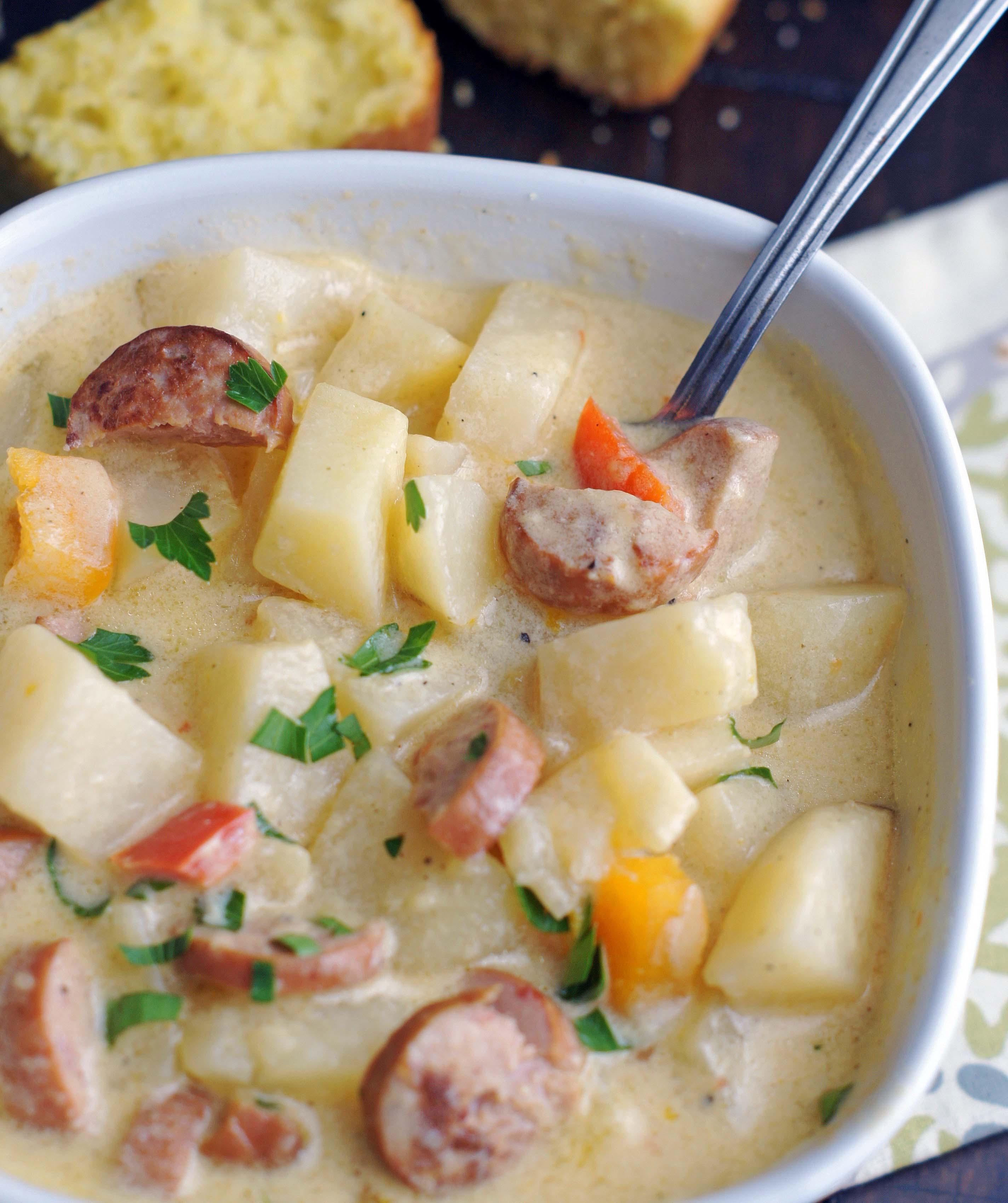Sausage Potato Soup  Slow Cooker Cheesy Smoked Sausage & Potato Soup 5 Boys Baker