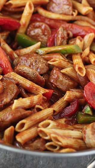Sausage Recipes Dinner  Check out Skillet Italian Sausage & Peppers with Penne It