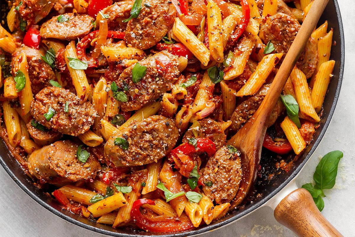 Sausage Recipes Dinner  Sausage Pasta Skillet Recipe — Eatwell101