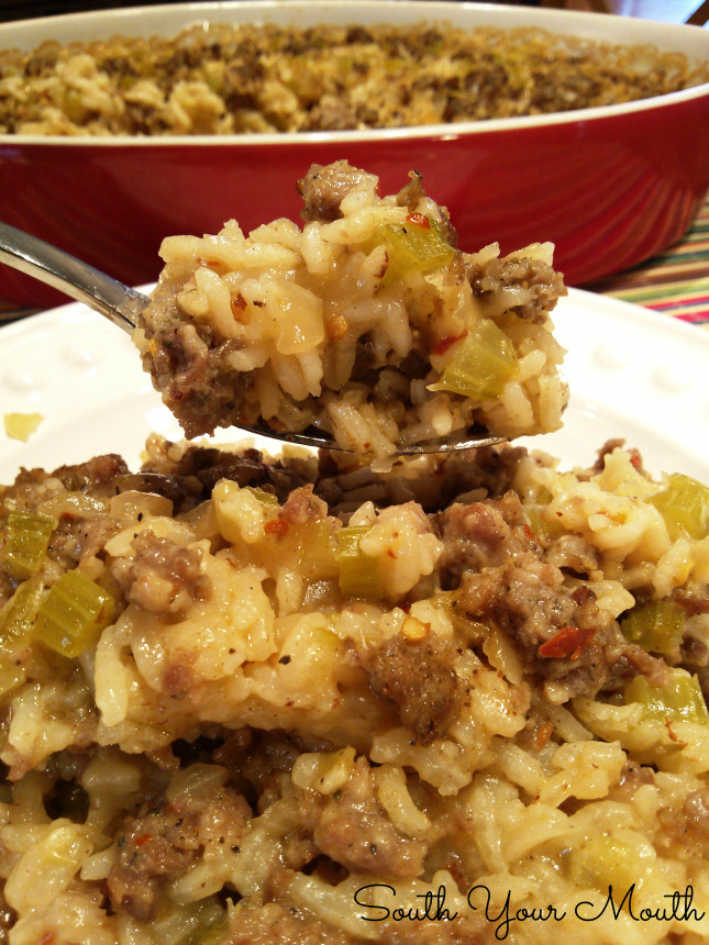 Sausage Rice Casserole  South Your Mouth Sausage & Rice Casserole