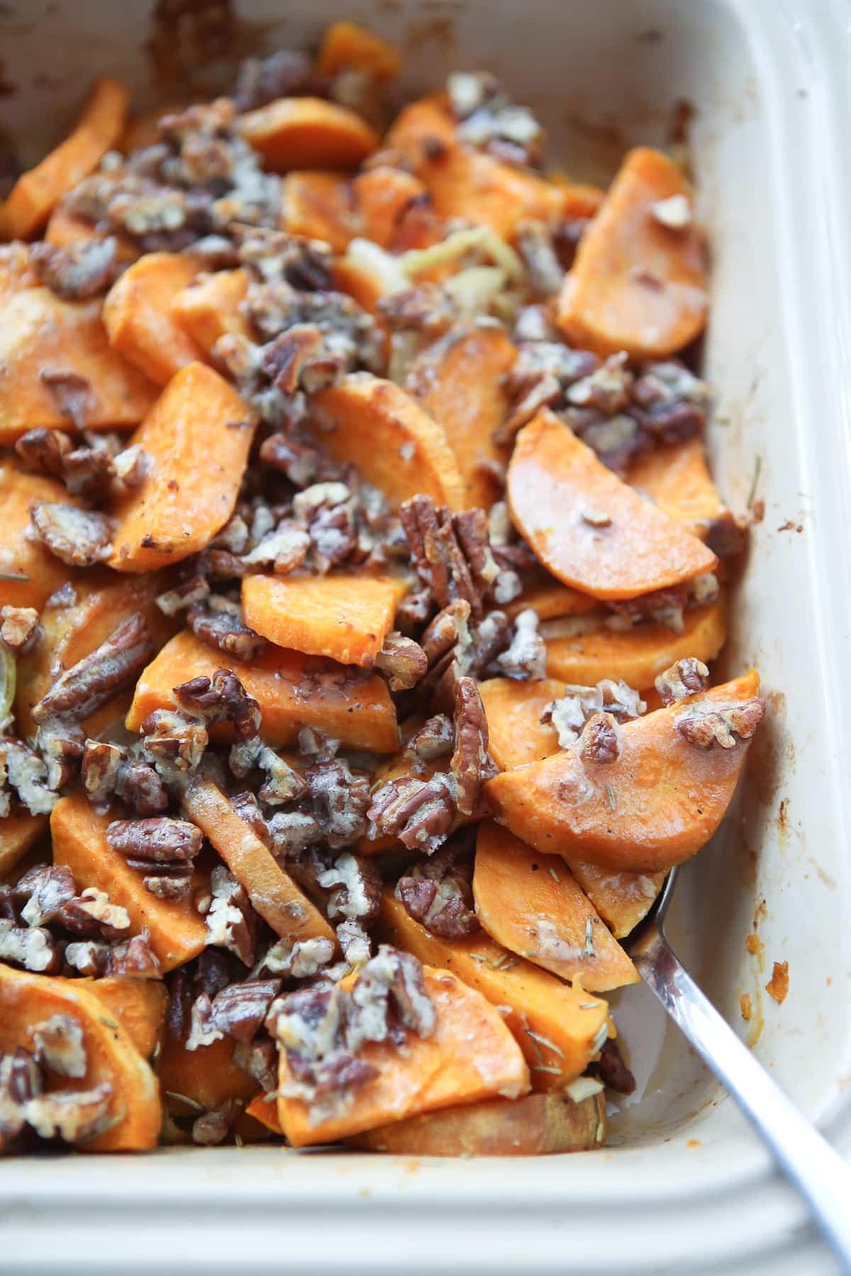 Savory Sweet Potato Recipes  Savory Sweet Potato Gratin with Pecans Aggie s Kitchen