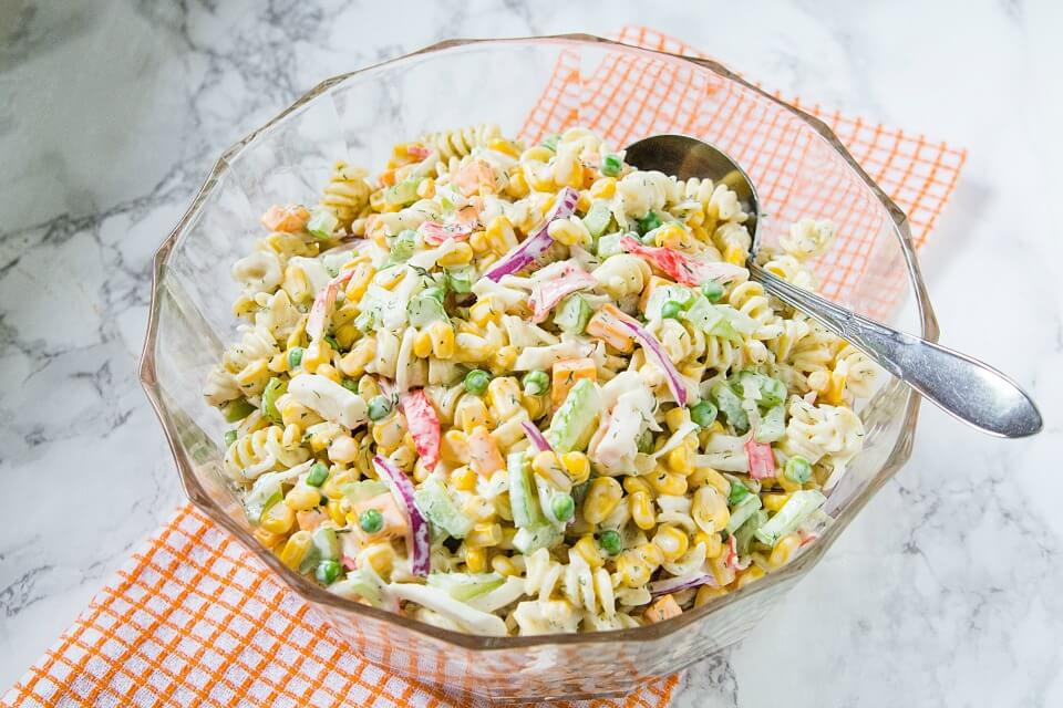 Seafood Pasta Salad  Corn and Seafood Pasta Salad Recipe Merry About Town
