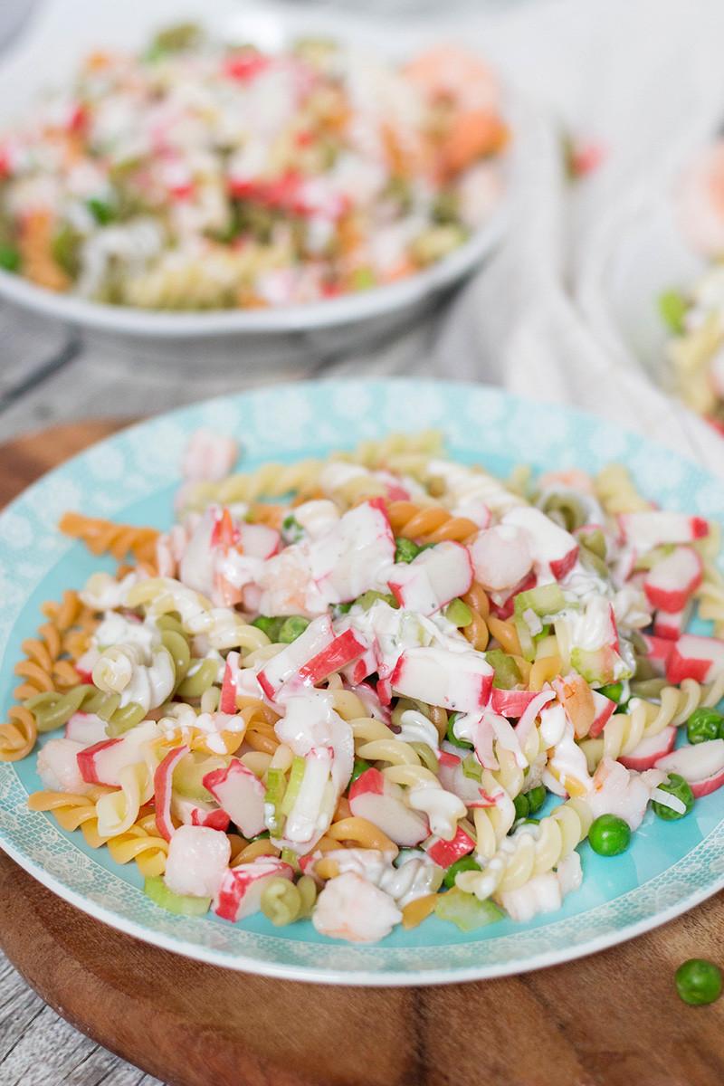 Seafood Pasta Salad  Seafood Pasta Salad Recipe w Crab Meat & Shrimp