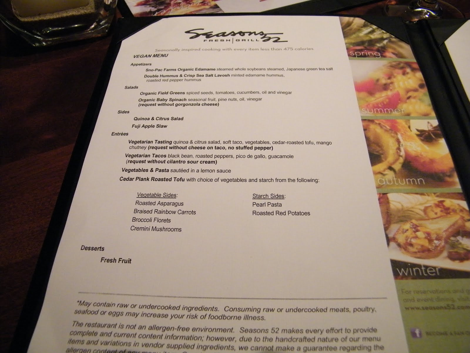 Seasons 52 Dinner Menu  Sacramento Vegan Seasons 52 Fresh Grill