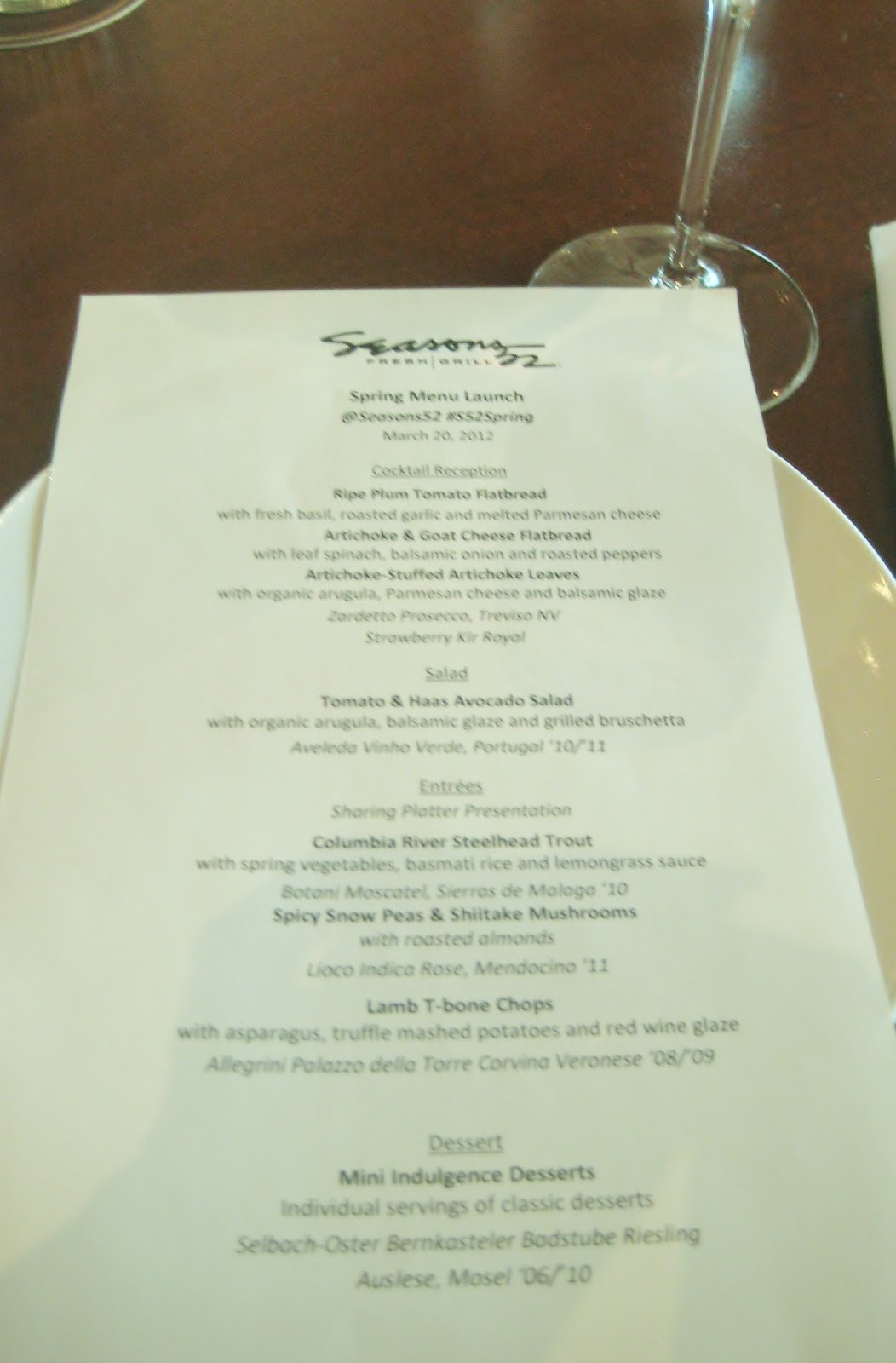 Seasons 52 Dinner Menu  food musings gathering atlanta fiddlehead foraging
