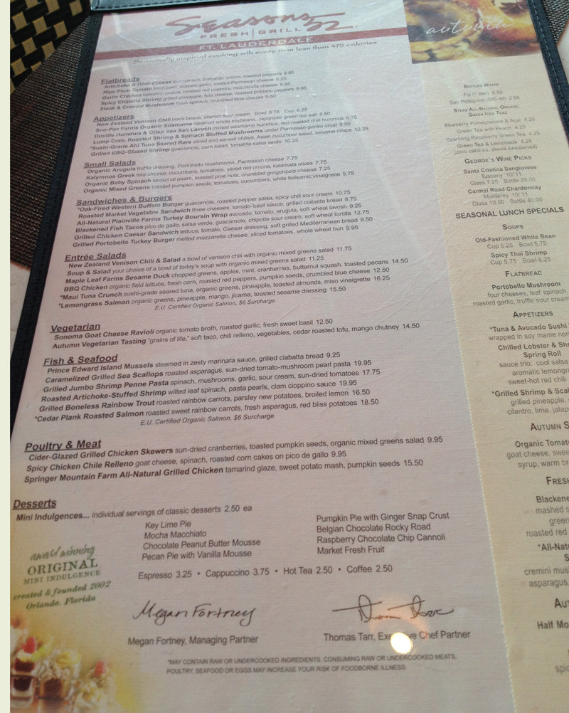 Seasons 52 Dinner Menu  Menu for Seasons 52 Galleria Mall Fort Lauderdale FL