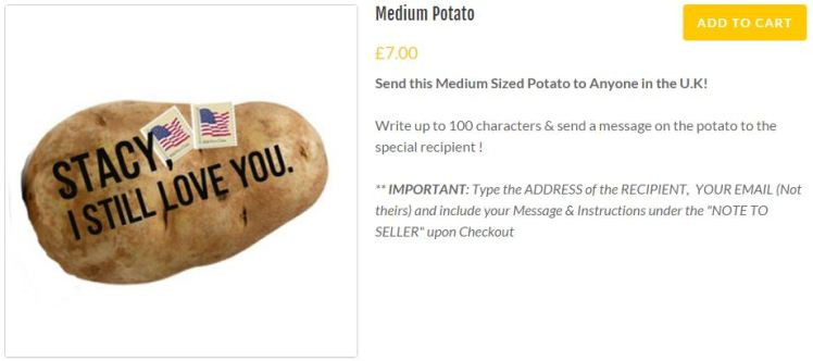 Send A Potato  Potato Parcel sends personalised potatoes to all your