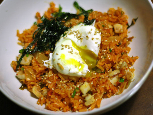 Serious Eats Fried Rice  Kimchi Fried Rice with Sautéed Squid and a Poached Egg
