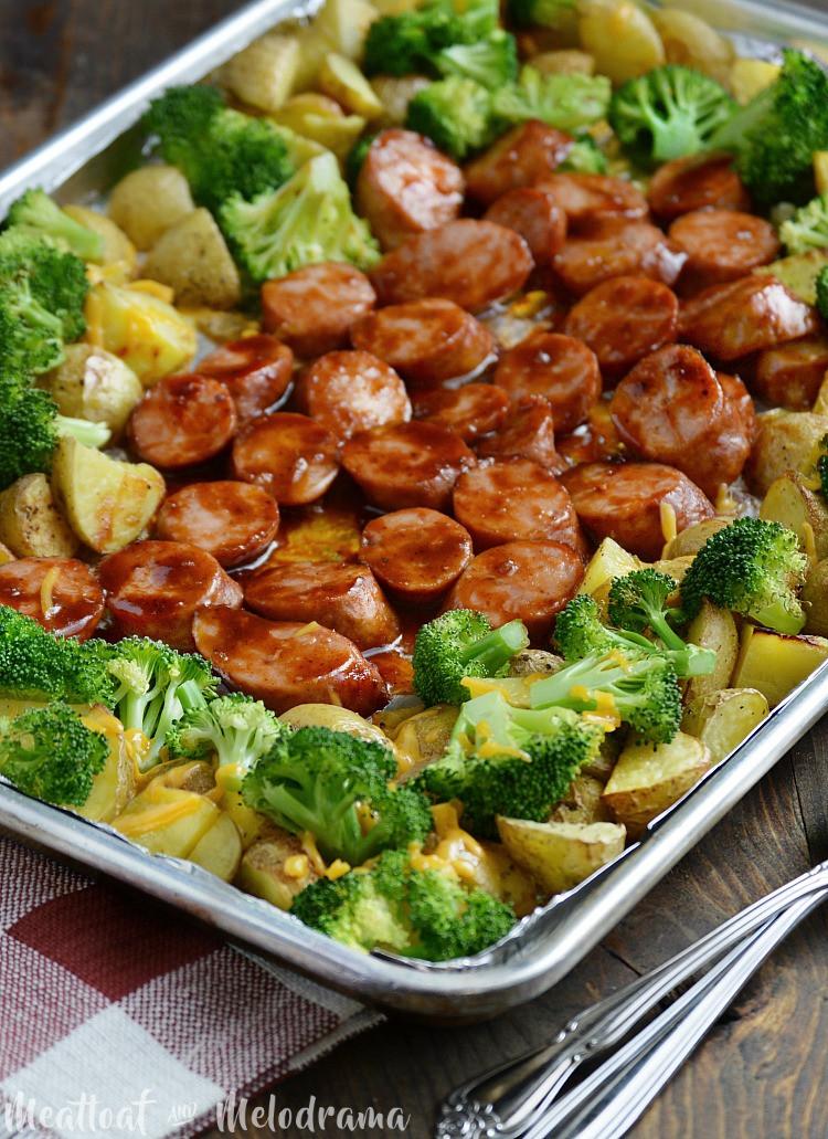 Sheet Pan Dinner Recipes  Sheet Pan BBQ Smoked Sausage Dinner Meatloaf and Melodrama