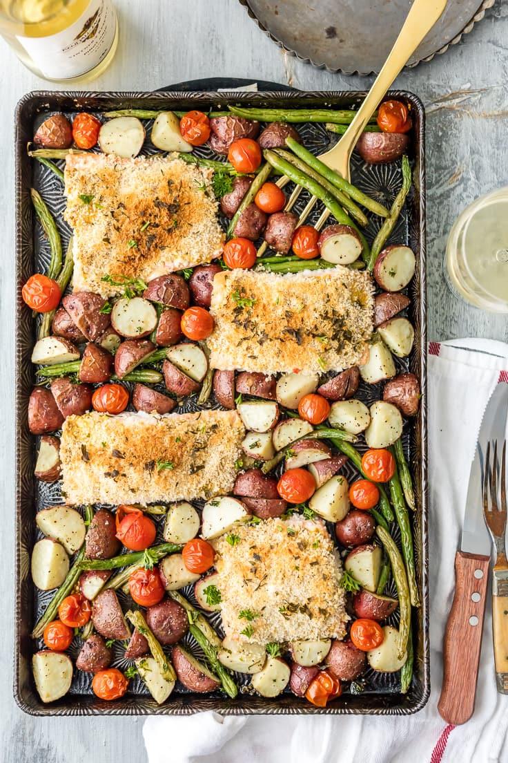 Sheet Pan Dinner Recipes  Sheet Pan Honey Mustard Crusted Salmon The Cookie Rookie