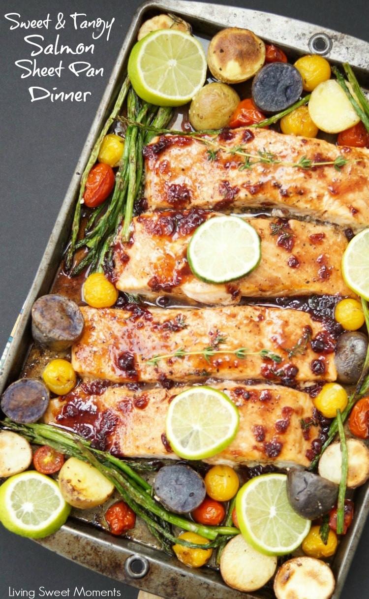Sheet Pan Dinner Recipes  Tangy Salmon Sheet Pan Dinner Living Sweet Moments