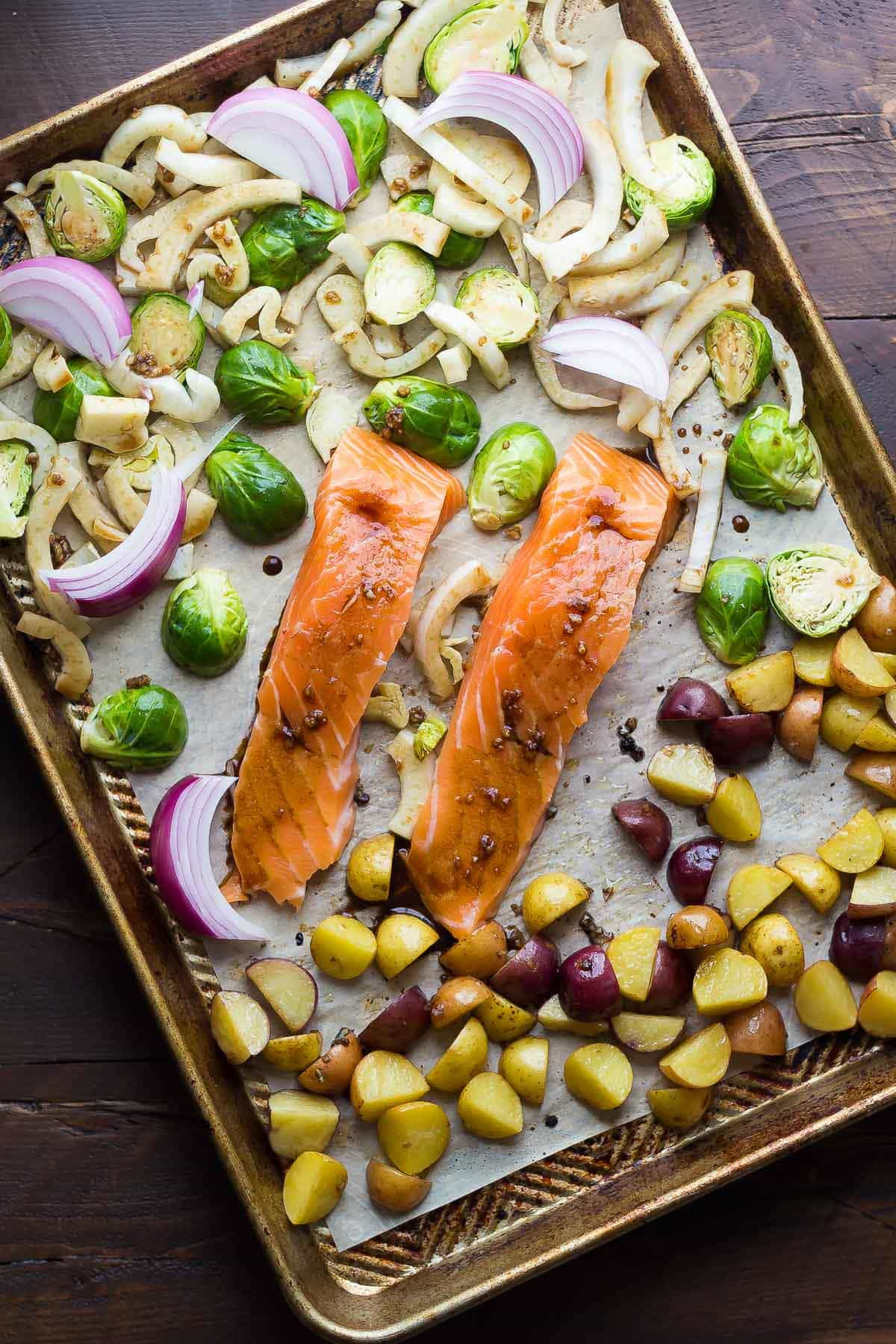 Sheet Pan Dinner Recipes  Mediterranean Salmon Sheet Pan Dinner