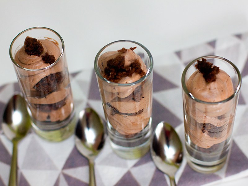 Shot Glass Desserts  Chocolate Mousse and Brownie Shot Glass Dessert Sarah Hearts
