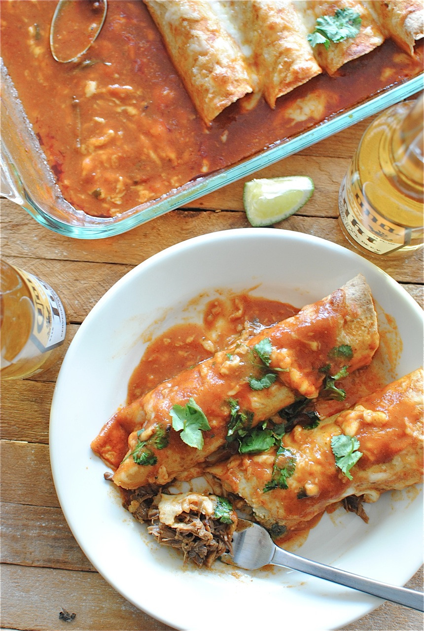 Shredded Beef Enchiladas  Slow Cooker Shredded Beef Enchiladas