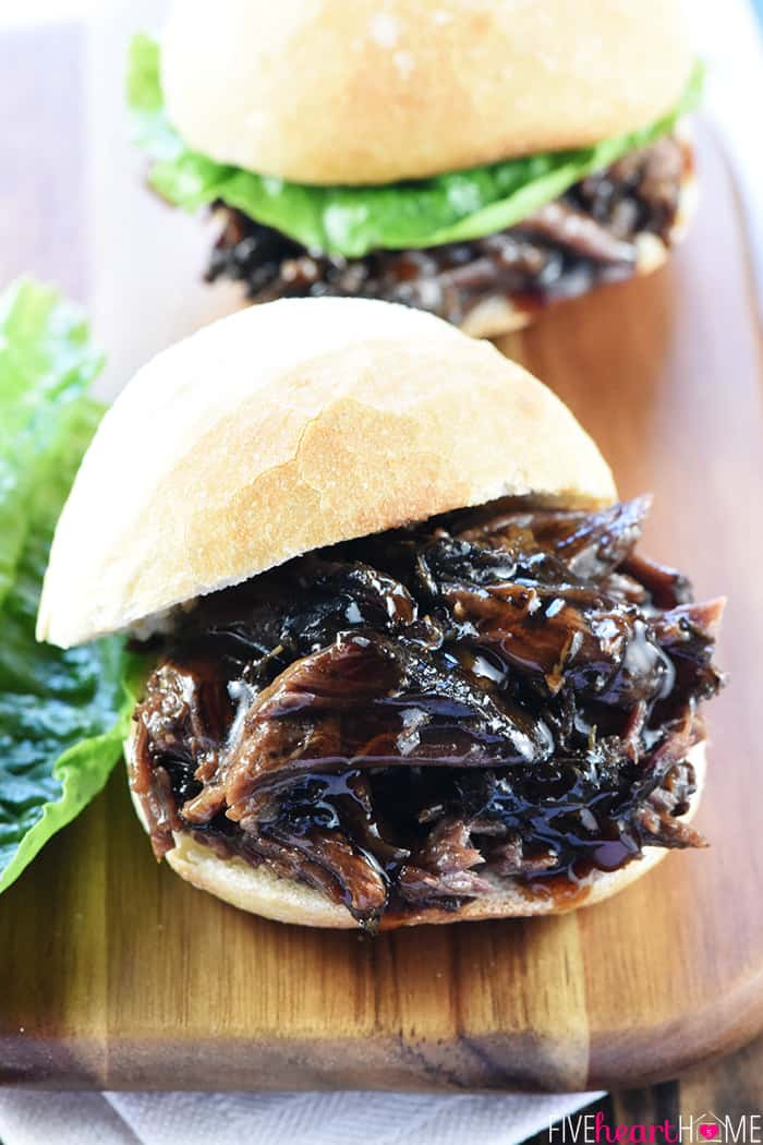 Shredded Beef Sandwiches  Slow Cooker Honey Balsamic Shredded Beef Sandwiches