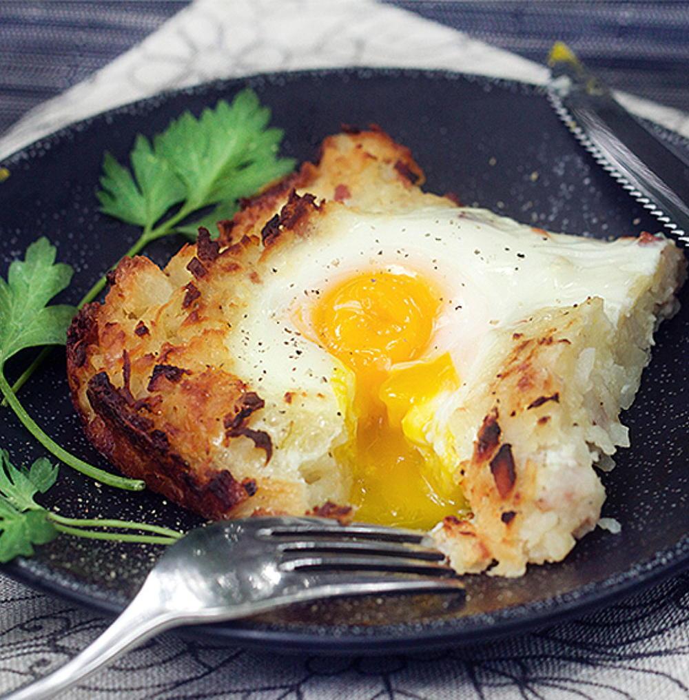 Shredded Potato Casserole  Swiss Rosti Shredded Potato Casserole with Ham and Eggs