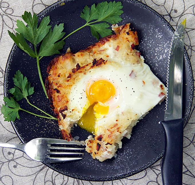 Shredded Potato Casserole  Rosti Shredded Potato Casserole with Ham and Eggs