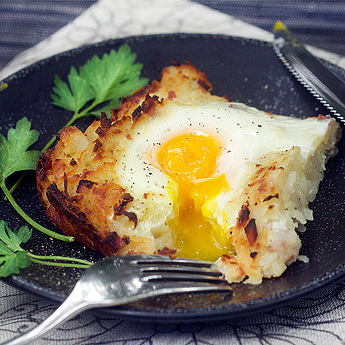 Shredded Potato Recipes  Rosti Shredded Potato Casserole with Ham and Eggs