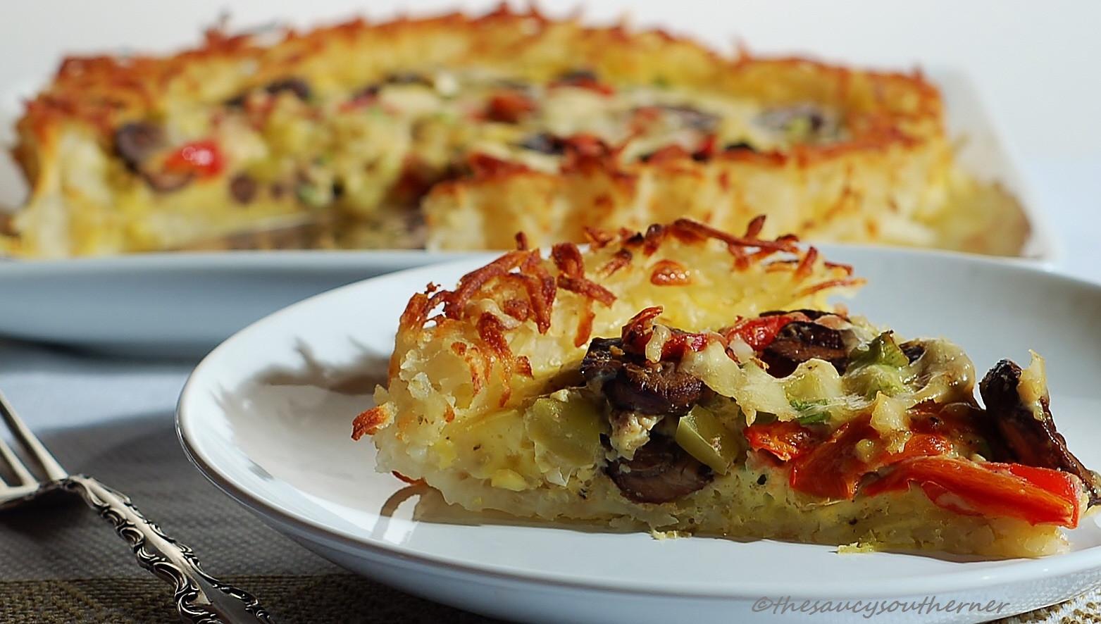 Shredded Potato Recipes  Grated Potato Crust Quiche with Portobellos Green