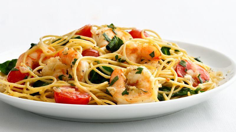 Shrimp And Pasta Dishes  Skinny Garlic Shrimp Pasta Recipe BettyCrocker