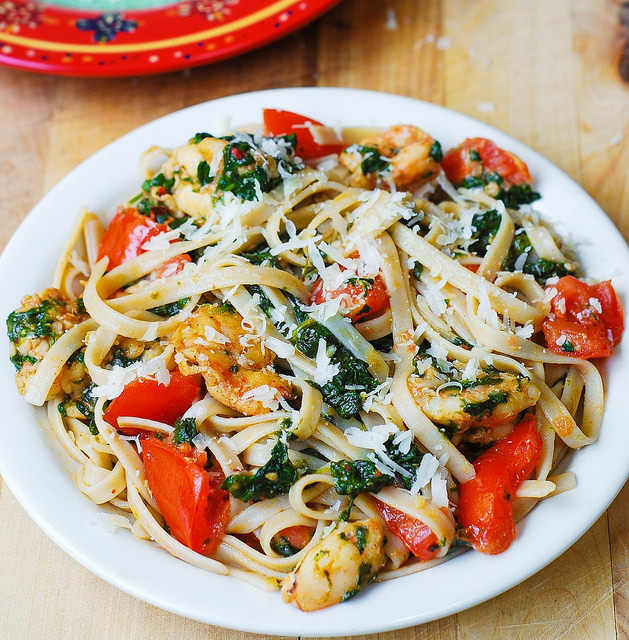 Shrimp And Spinach Pasta  Shrimp Tomato and Spinach Pasta in Garlic Butter Sauce