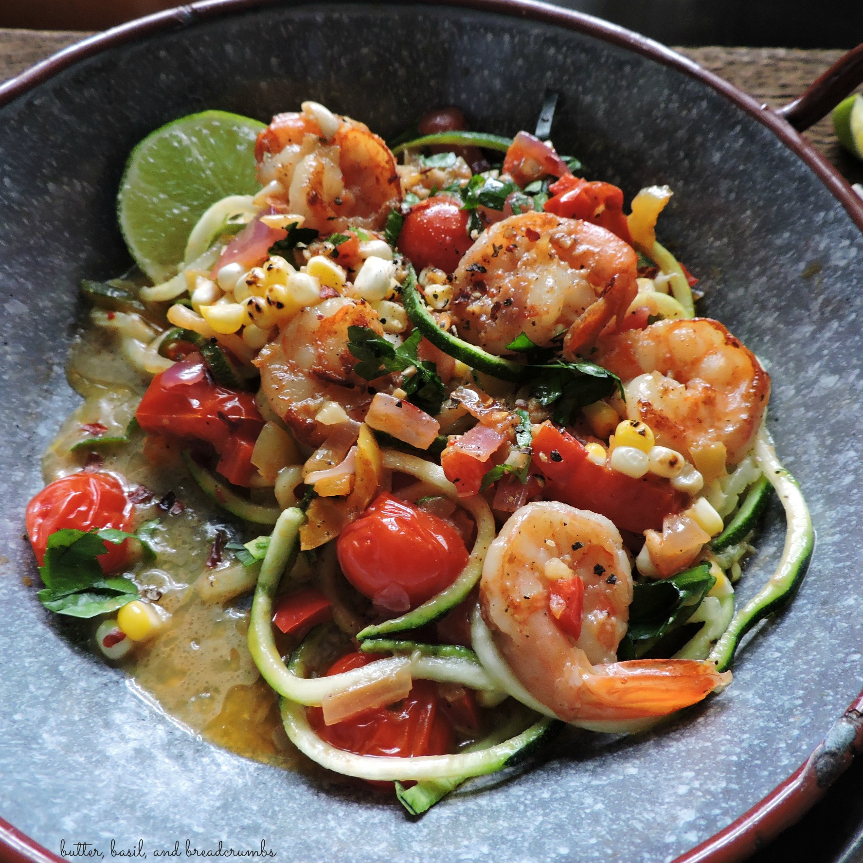 Shrimp And Zucchini  Spicy Shrimp and Zucchini Noodles Butter Basil and