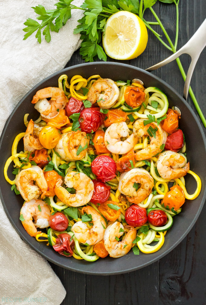 Shrimp And Zucchini  Roasted Tomatoes and Shrimp with Zucchini Noodles Recipe