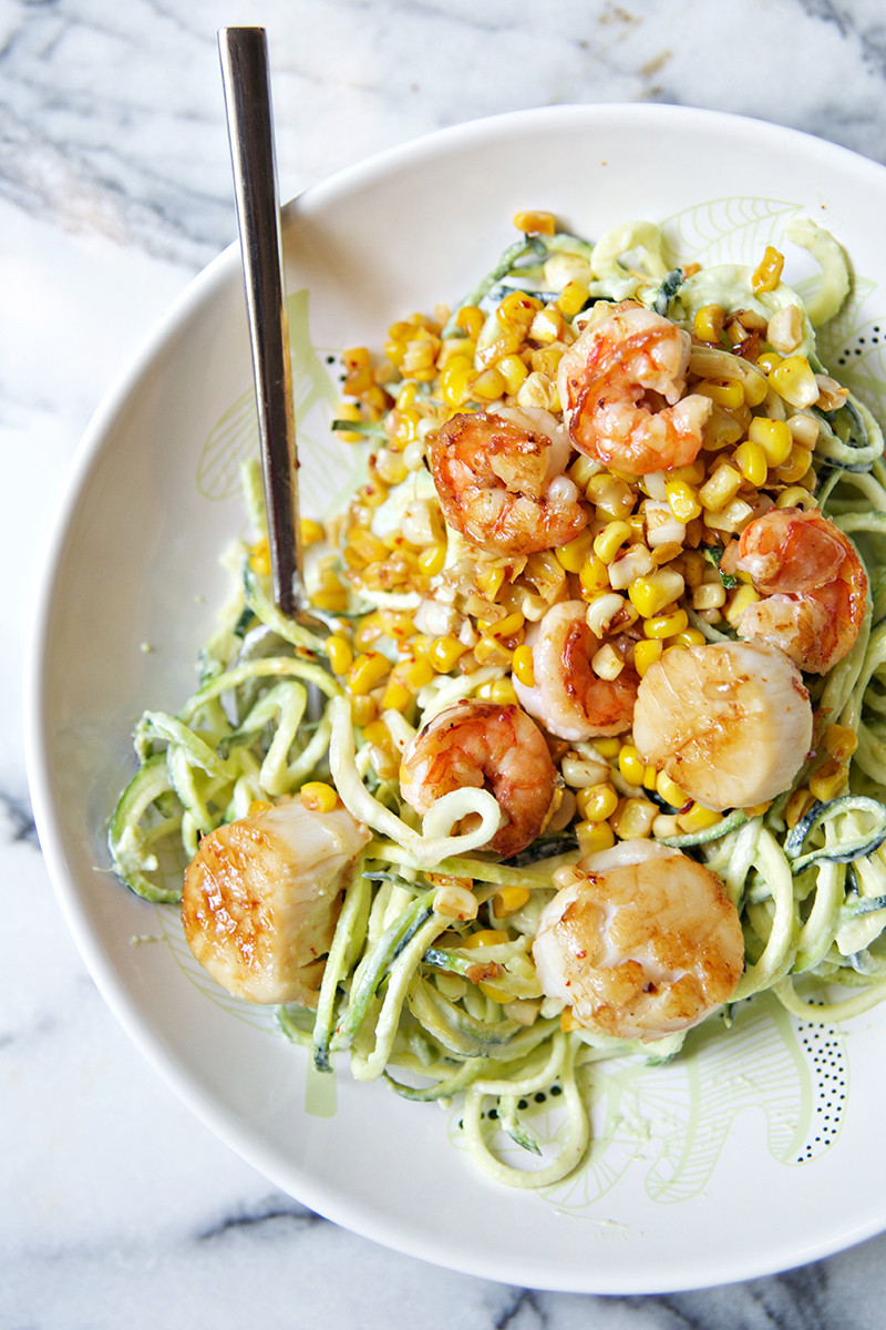Shrimp And Zucchini  Chili Lime Shrimp & Scallops with Corn Zucchini Noodles