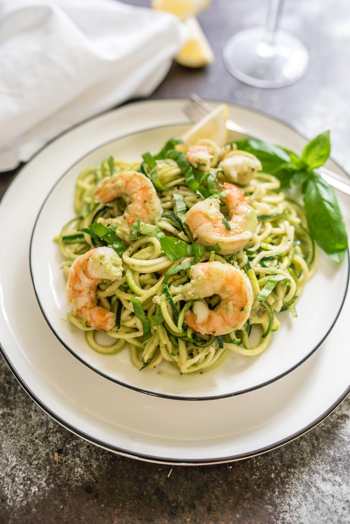 Shrimp And Zucchini  Creamy Basil Zucchini Noodles with Shrimp