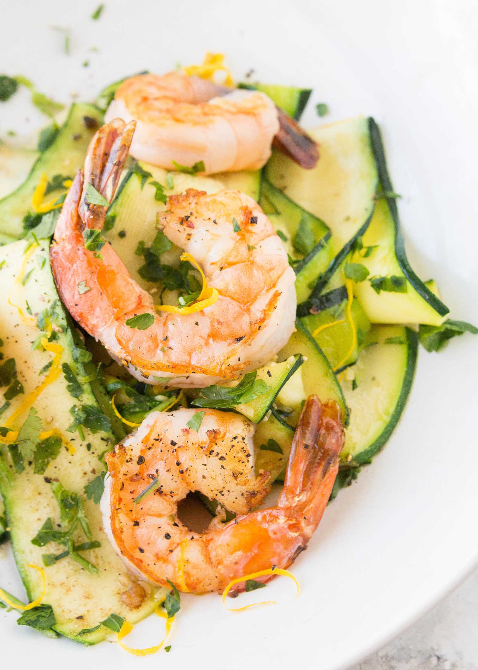 Shrimp And Zucchini  Shrimp with Zucchini Noodles and Lemon Garlic Butter