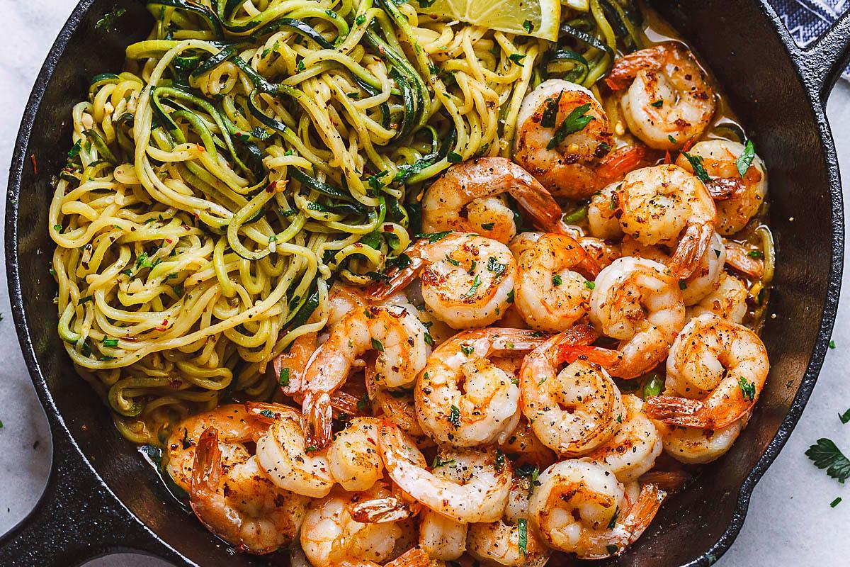 Shrimp And Zucchini  10 Minute Shrimp Zucchini Noodles with Lemon Garlic Butter