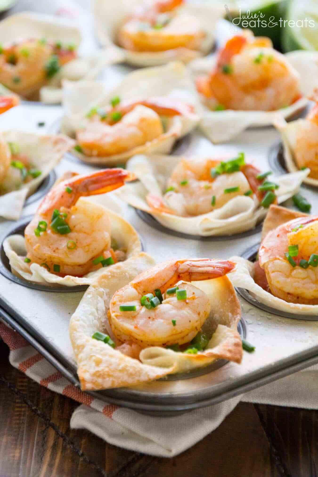 Shrimp Appetizer Recipes  Light Tex Mex Shrimp Wonton Cups Recipe VIDEO Julie s