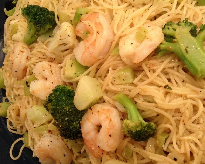 Shrimp Broccoli Pasta  Shrimp Broccoli & Cauliflower with Angel Hair Pasta and