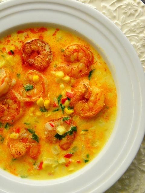Shrimp Corn Chowder  Shrimp And Roasted Corn Chowder Recipe — Dishmaps
