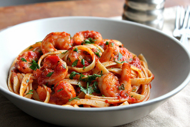 Shrimp Pasta Recipes Red Sauce  Kitchen Snaps Shrimp Fra Diavolo or Shrimp in a Spicy Red