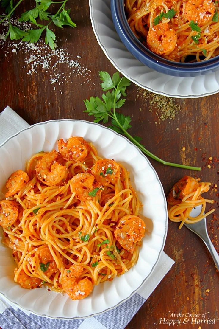 Shrimp Pasta Recipes Red Sauce  Spicy Shrimp Pasta In Creamy Tomato Sauce