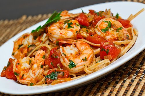 Shrimp Pasta Recipes Red Sauce  Shrimp Linguine in a Tomato and White Wine Sauce Recipe on