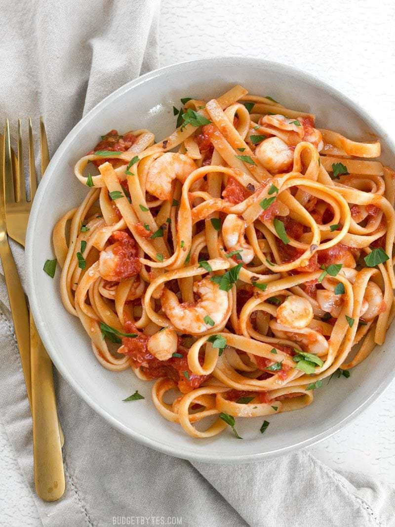 Shrimp Pasta Sauce  Spicy Seafood Pasta with Tomato Butter Sauce Bud Bytes